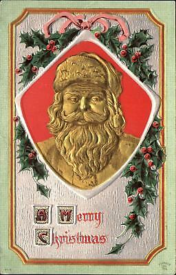 Gold Santa Claus ~ Christmas ~ holly embossed ~ mailed 1910 Holton Kansas