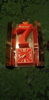 Seagram's 7 Wall Clock Electric  Man Cave  Whiskey