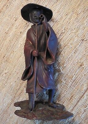 Antique Japanese Bronze/Copper Okimono Statue of Farmer Walking with Staff