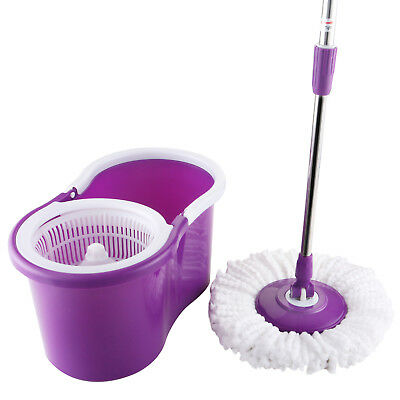 360° Spinning Microfiber Magic Spin Floor Mop w/ Rotating Bucket & Free 2 Head