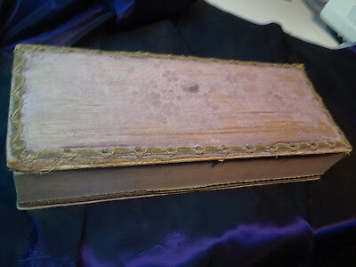 Antique French Fabric Covered Boudoir Box Prop Vintage Bedroom Victorian