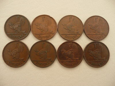 Lot of 8 Large Irish One Penny Animal Coins of Ireland - Hens with Chicks