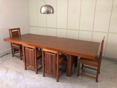 Original Frank Lloyd Wright Cassina Dining table and 6 chairs