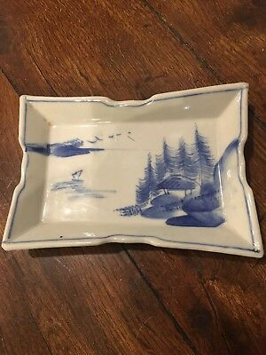 Japanese SHOKI IMARI blue-and-white porcelain rectangle plates