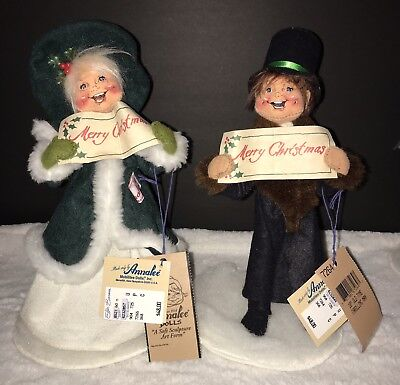 """Collectible Christmas Vintage Annalee Dolls Old Tyme Carolling Man & Woman 10"""""""