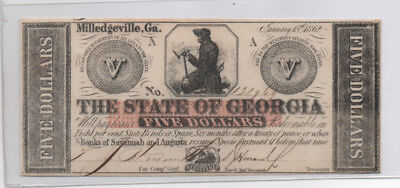 Civil War Confederate CSA $5 1862 Georgia Note Obsolete Currency Uncirculated