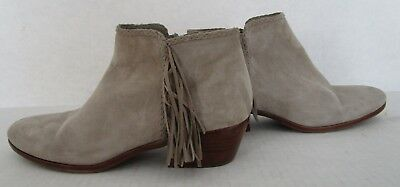 2aa0059d6e738 Sam Edelman Womens Size 9 M Booties Paige Fringe Putty Grey Leather Ankle  Boots
