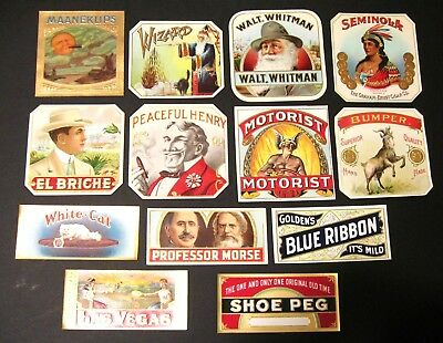 Lot of 13 Outer Cigar Labels Mint Never Used - Dealers Lot