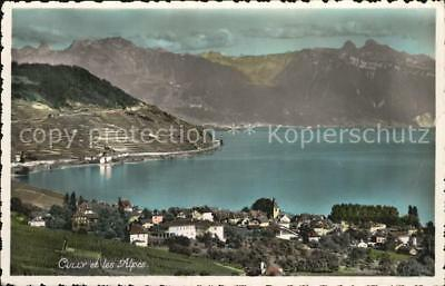 12586277 Cully VD Lac Leman et les Alpes Genfersee Alpen Cully