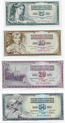 Yugoslavia Papermoney, Lot of four (4) Uncirculated Banknotes, 1968-1978