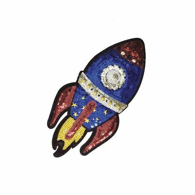 Sequin Rocket (Iron On) Embroidery Applique Patch Sew Iron Badge