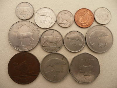 Lot of 12 Irish Coins of Ireland - With Animals and Harps - No Reserve!