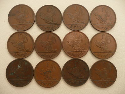 Lot of 12 Large Irish One Penny Animal Coins of Ireland - Hens with Chicks