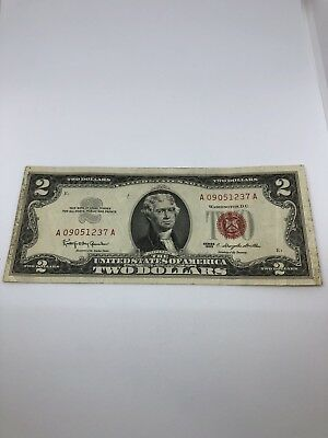 1963 Series $2 DOLLAR BILL OLD US NOTE LEGAL TENDER PAPER MONEY RED SEAL (0259)