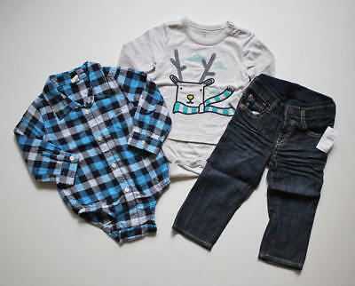 Baby Gap Boys Lot Blue Plaid Flannel Reindeer Bodysuit Dark Denim Jeans 18-24