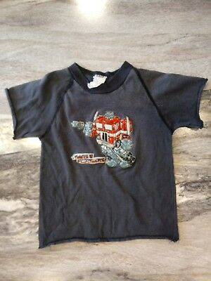 YOUTH S (5T?) Vintage 1980s Transformers Pilgrim Puffy Graphic black tshirt