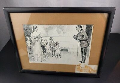 VTG 1905 Life Publishing Co. Framed Ink Drawing Picture Victorian Print Art