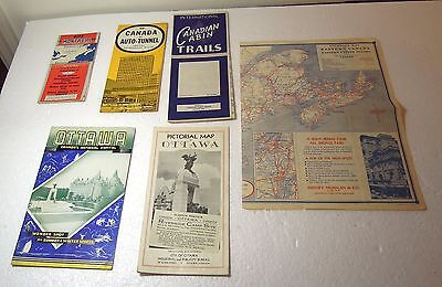 Six Vintage Canadian maps and brochures Ottawa Montreal Auto-Tunnel cabin trails