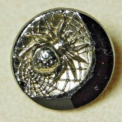 Antique VINTAGE Button SILVER Luster Black Glass SPIDER in a WEB INSECT *A44