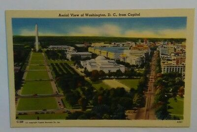 Vintage Postcard Aerial View of Washington DC from Capitol