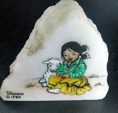 Joy Weddle 1990 Hand Painted Rock Native American Indian Girl with Sheep Lamb