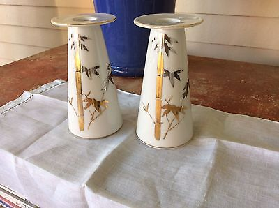 Pr Vtg Porcelain Candle Holders White w/Gold Bamboo Nippon Yoko Boeki Japan