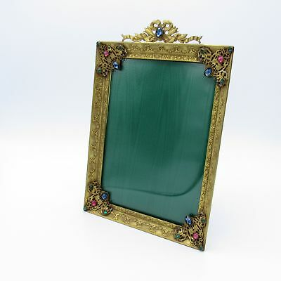 Antique Stunning Jeweled Brass Picture Photo Frame LARGE, NR