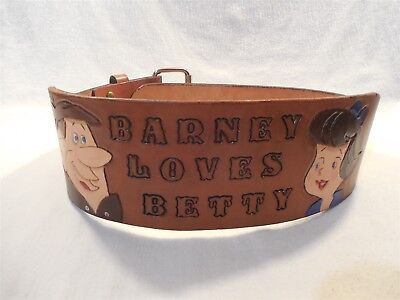 Flintstones Vintage Leather Boy's Weight Lifting Belt Barney Loves Betty Rubble
