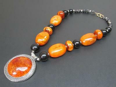 Vintage Antique Butterscotch Egg Yolk Baltic Amber Beaded Pendant Necklace India