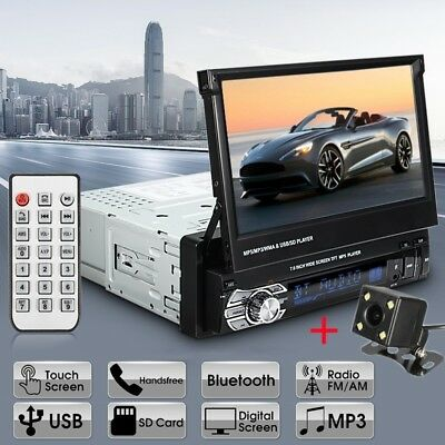 """Single 1Din 7"""" Flip Car Stereo Radio Player Touch Screen BT USB SD AUX + Camera"""