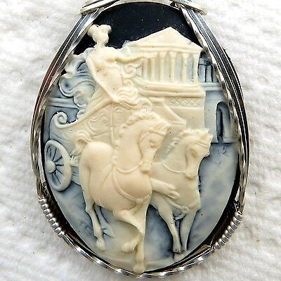 Ancient Roman Charioteer Cameo Pendant .925 Sterling Silver Jewelry Cream Resin