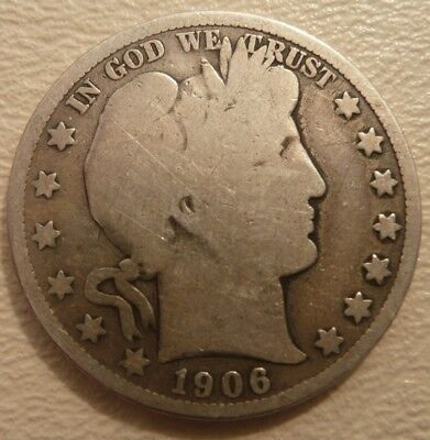 1906 S Barber Half Dollar U.S. Silver Coin - free shipping and no reserve!