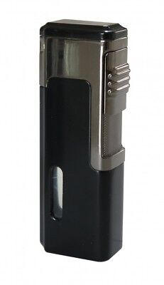 Eternity E4 Black Quad Jet Torch Cigar Lighter With Punch Cutter - Brand New