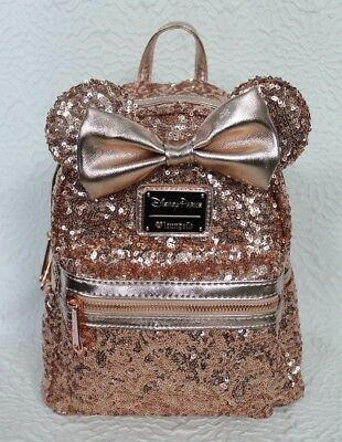 Disney Parks Loungefly Rosegold Sequin Backpack Rose Gold Minnie Ears NEW