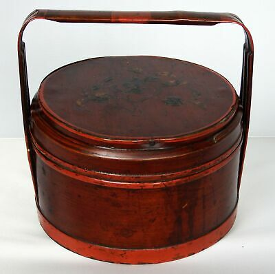 Antique Chinese Hand Painted Red Lacquer Wood & Bamboo Basket Signed
