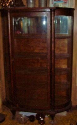 Vintage Oak Curved Glass Curio China Cabinet With Paw Feet