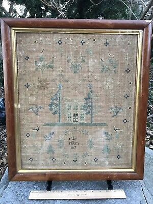 Rare New Hampshire MA Antique 19thC Folk Art Sewing HOUSE Sampler Embroidery