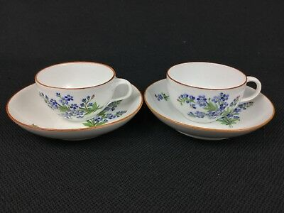 Antique Meissen Marcolini TWO (2) Blue Floral Cups with Deep Saucers
