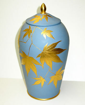 RARE Wedgwood Blue Jasperware Jar Vase W Gold Japanese Maple Leaf Decoration