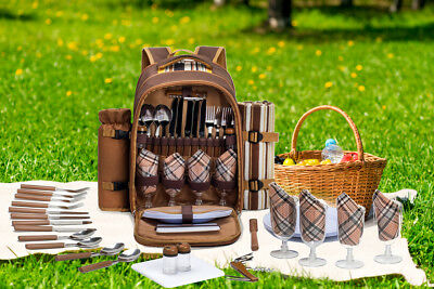 ALLCAMP 4 Person Picnic Backpack Cooler Bag With Stainless Cutlery Set