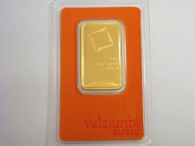 1 Oz 999.9 Fine Gold  Bullion Bar With Serial Number Valcambi Suisse