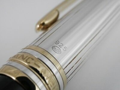 Montblanc Meisterstuck Solitaire Doue Sterling Silver Pinstripe Fountain Pen New