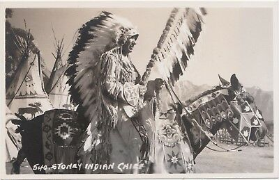 Stoney Nakoda Chief- Native American Indian RPPC Harmon Horse Canada