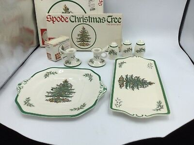 7 Piece Lot Spode Christmas Tree Square & Rect Tray 3 Salt Pepper 2 Candle Holde