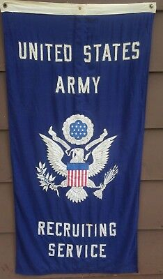 """Vintage Military Issued Double-sided Army Recruiting Service Banner 28"""" x 55"""""""