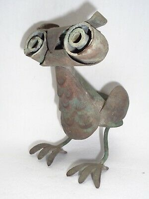 Vtg Los Castillo Mexico Copper Owl Bird Sculpture Taxco Mid Century Era