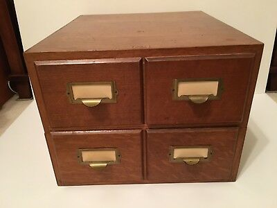 Antique Weis Oak Four Drawer Card Catalog File Cabinet Library Stacking