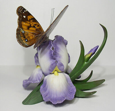 """Lenox Porcelain Iris/butterfly Figurine Titled """"american Painted Lady 1993"""