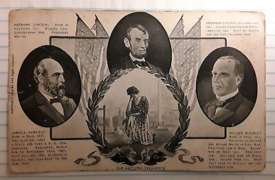 Antique Postcard 1908 Our Martyred US Presidents Lincoln Garfield McKinley Photo