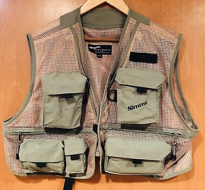 NWOT Simms Guide Fly Fishing Vest, Color: Taupe / Green Sz XL NR